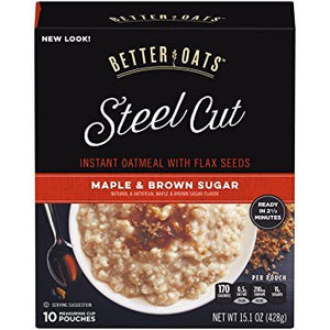 Better Oats Steel Cut MAPLE & BROWN SUGAR Instant Oatmeal 15.1oz (4 Pack) - Buy Fast delivery