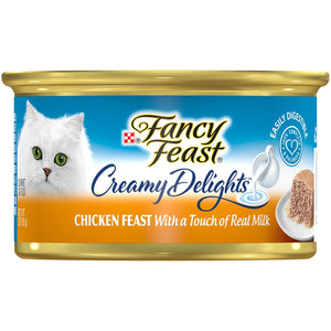 Purina Fancy Feast Creamy Delights Chicken Feast With A Touch Of Real Milk(12-CANS) (3 OZ EACH) - Buy Fast delivery