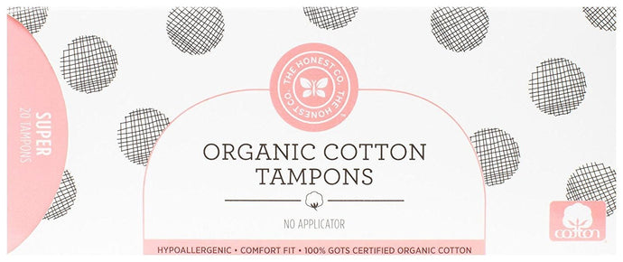 Honest Organic Cotton Tampons with No Applicator, Super, 20 Count - Buy Fast delivery