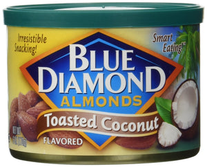 Blue Diamond Flavored Almonds, Toasted Coconut 6-ounce Can (Pack of 2) - Buy Fast delivery