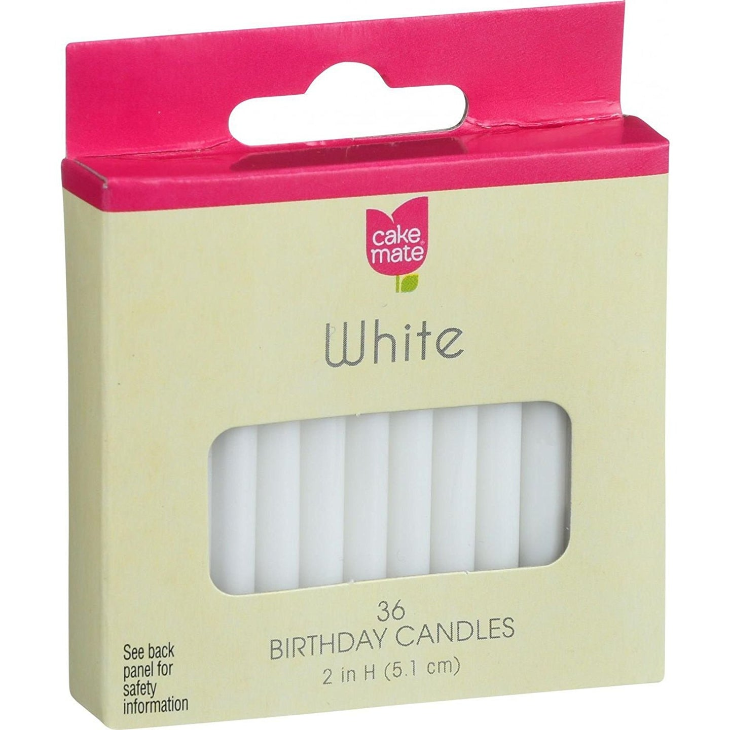 Cake Mate Round White Birthday Candle, 2 x 3/16 inch - 36 per pack -- 12 packs per case. - Buy Fast delivery