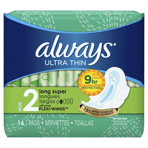 Always Ultra Thin Long/Super With Wings Unscented Pads 16 Count - Buy Fast delivery