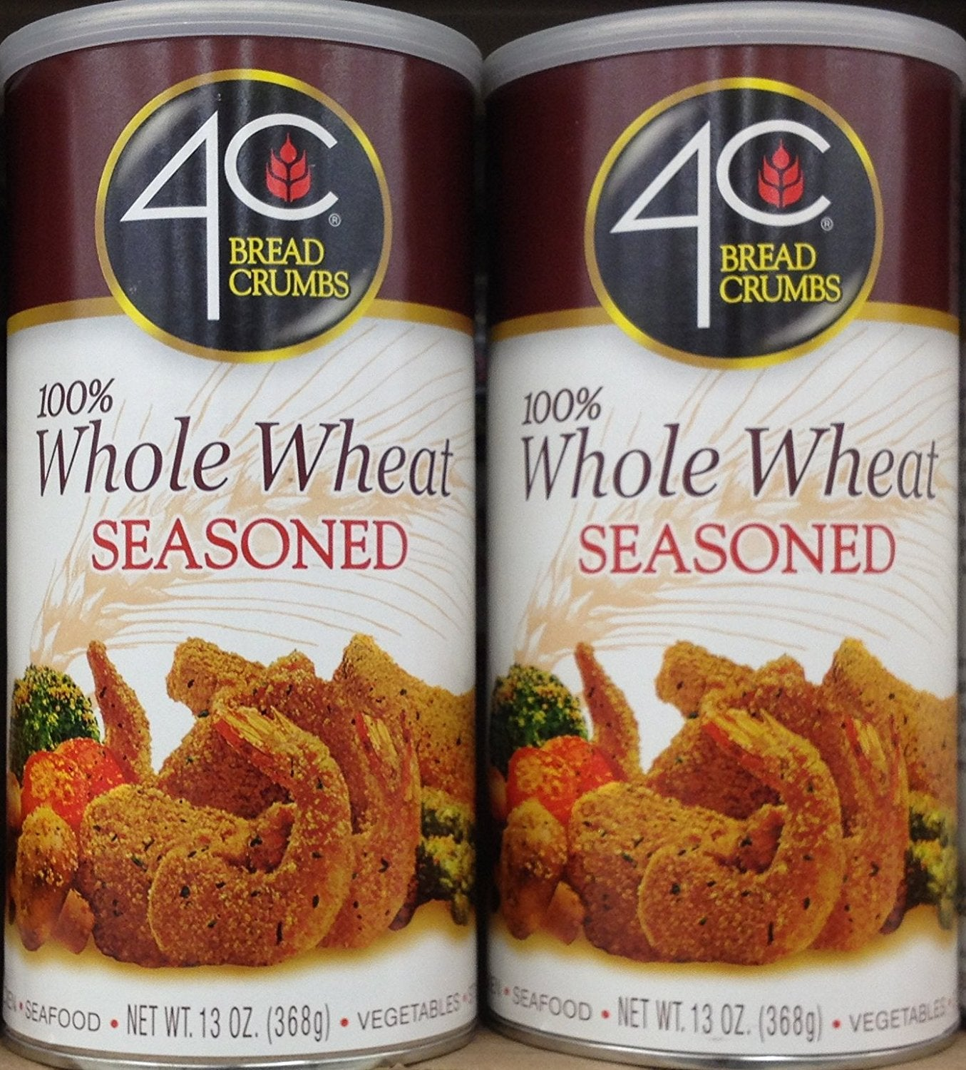 4C 100% Whole Wheat Seasoned BREAD CRUMBS 13oz (2 Cans) - Buy Fast delivery