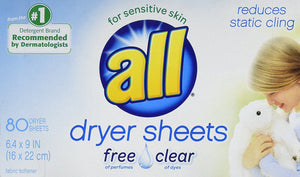 All Dryer Sheets for Sensitive Skin - Free Clear, 80 Sheets - Buy Fast delivery