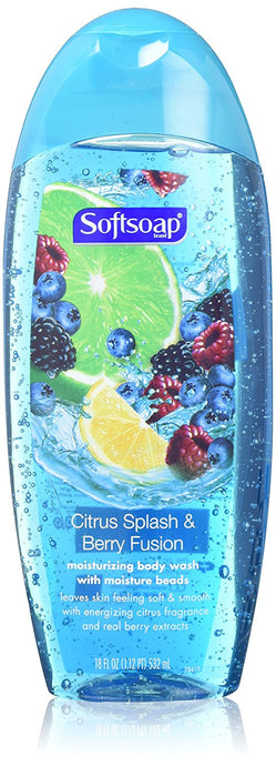 Softsoap Moisturizing Body Wash - Citrus Splash & Berry Fusion - Net Wt. 18 FL OZ (532 mL) Per Bottle - Pack of 2 - Buy Fast delivery