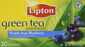 Lipton Green Tea Bags, Superfruit, Purple Acai & Blueberry, 20 ct - Buy Fast delivery