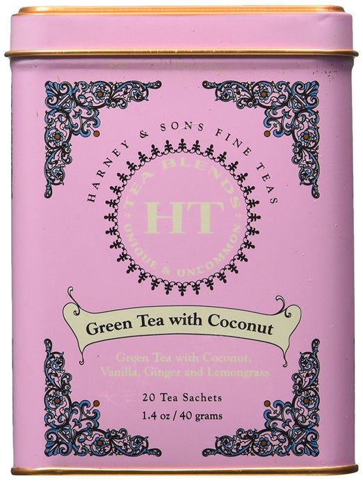Harney and Sons Fine Teas, Green Tea with Coconut, 20 Sachets (Pack of 3) - Buy Fast delivery