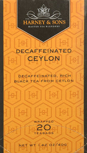 Harney and Sons Decaf Ceylon, Decaf Black 20 Teabags per Box - Buy Fast delivery