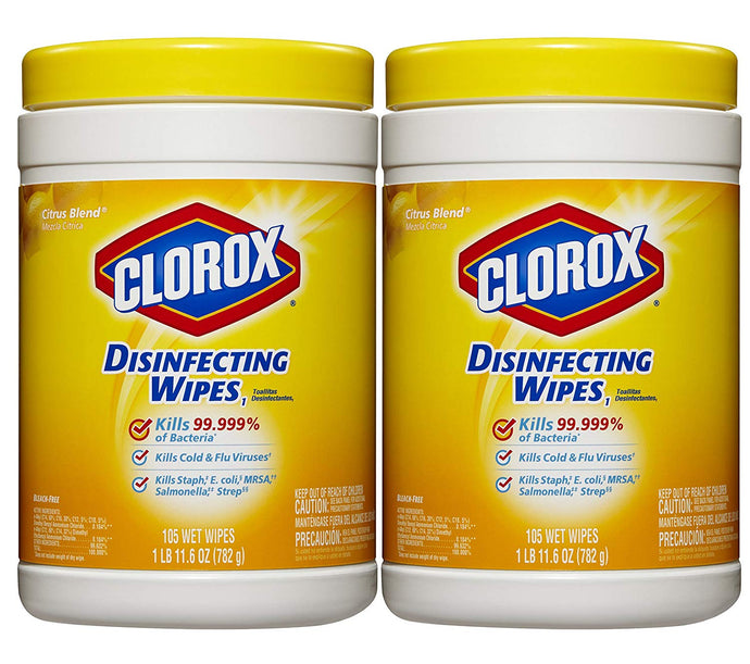 Clorox Disinfecting Wipes Value Pack, Citrus Blend Scented, Two 105 Count Canisters, 210 Count Total - Buy Fast delivery