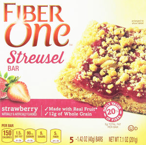 General Mills, Fiber One, Streusel, Strawberry, 5 Count, 7.1oz Box (Pack of 4) - Buy Fast delivery
