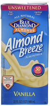 Blue Diamond Almond Breeze - Unsweetened Vanilla - 32 oz - Buy Fast delivery