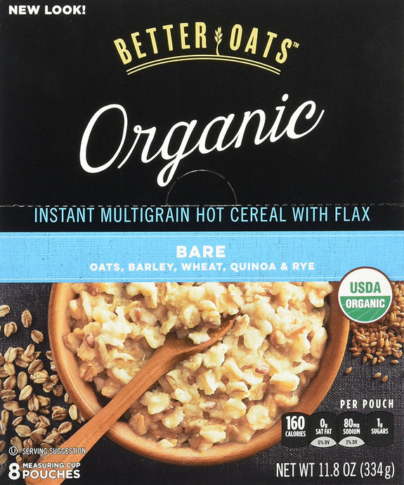 BetterOats Raw Pure & Simple Organic Instant Multigrain Hot Cereal with Flax Bare -- 8 Packets - Buy Fast delivery