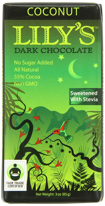 Lily's Dark Chocolate Bar with Coconut Stevia, 3 Ounce - Buy Fast delivery