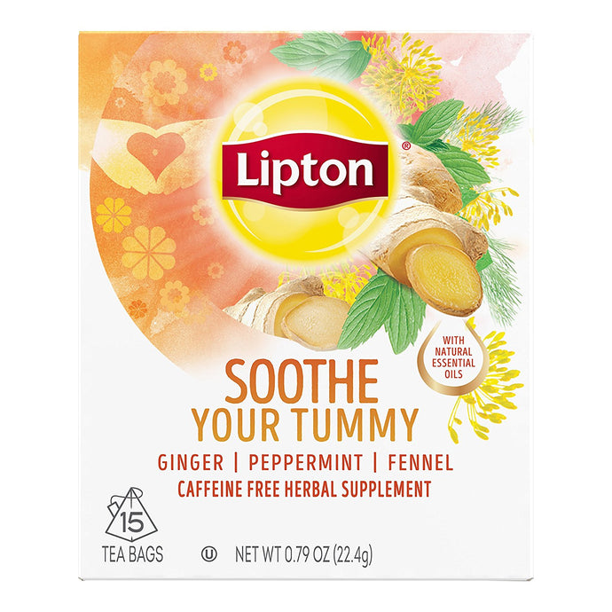 Lipton Herbal Supplement, Soothe Your Tummy, 15 ct - Buy Fast delivery