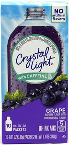Crystal Light On The Go Grape With Caffeine Drink Mix, 10-Packet Box (Pack of 5) - Buy Fast delivery