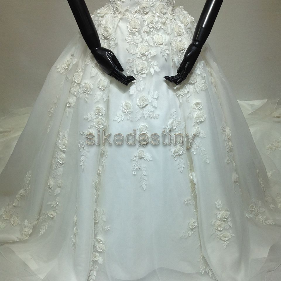 Sikedestiny 2018 Real Photo Luxury Wedding Gowns O-Neck Hand Made Flow