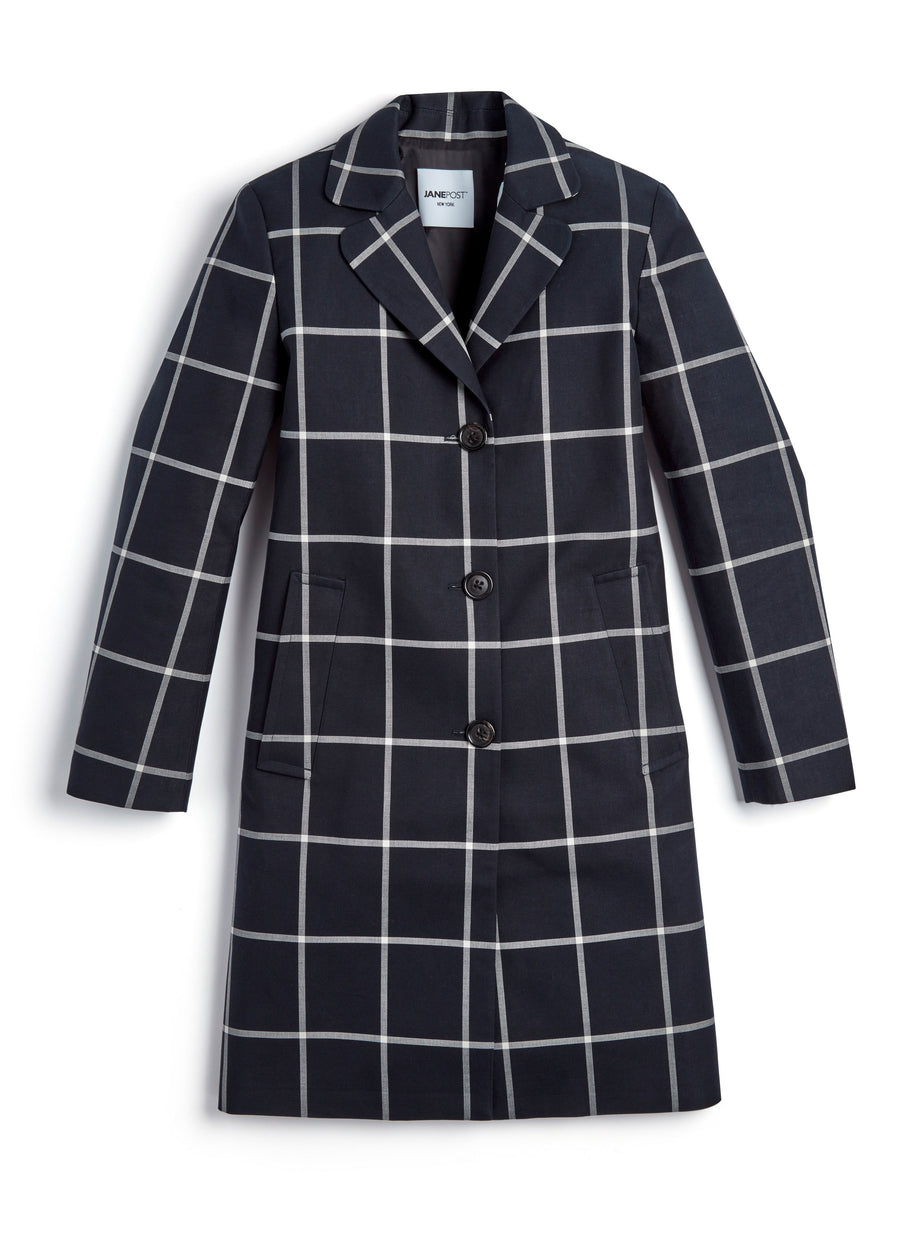 Window Pane Boy Coat - Navy