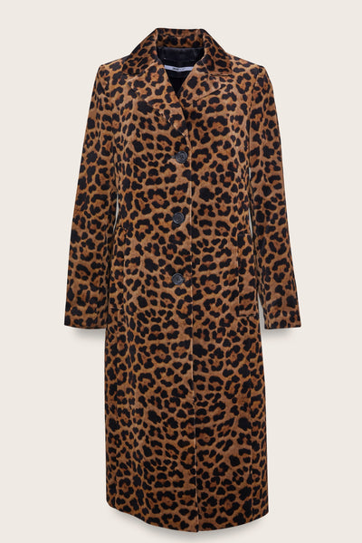 Leopard Velvet Notch Collar Coat