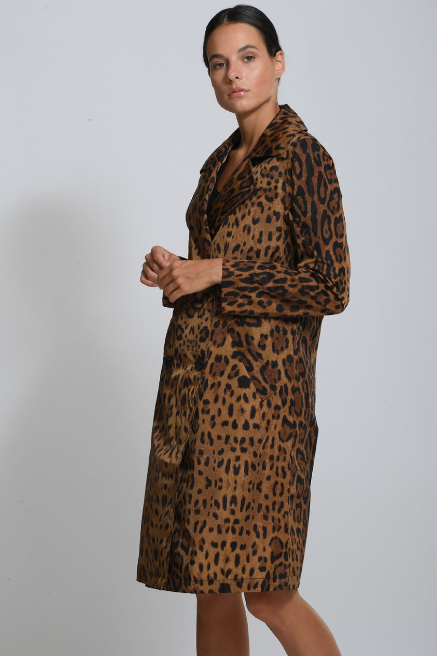 LEOPARD PRINTED NEW YORK TRENCH