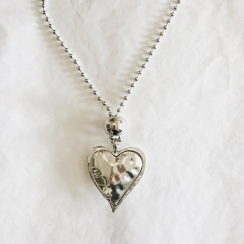Large Hammered Metal Heart Pendant