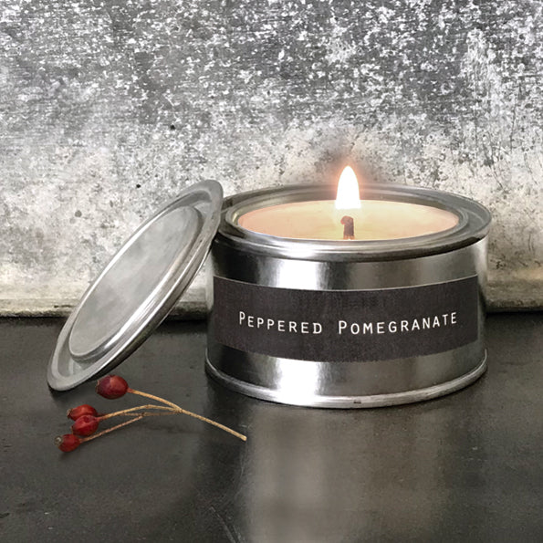 Tin Candle in Peppered Pomegranate