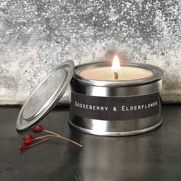 Tin Candle in Gooseberry and Elderflower