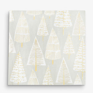 Metallic Christmas Tree Napkins, Pack of 16