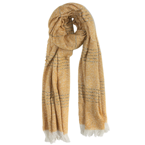 Knitted Sequin Scarf in Mustard