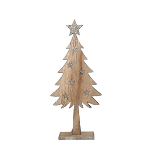 Wooden Christmas Tree with Silver Glitter