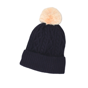 Cable Knit Bobble Hat in Navy