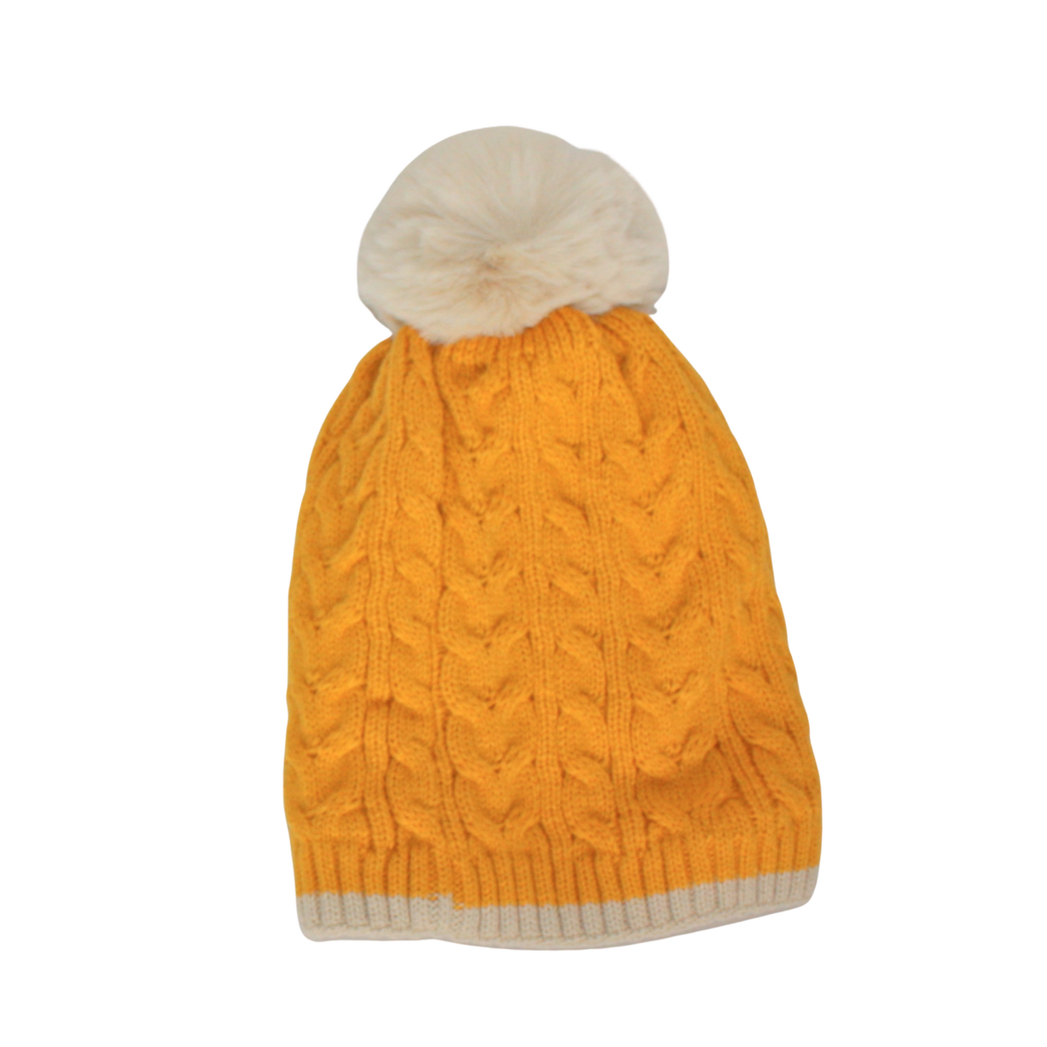 Cable Knit Bobble Hat in Mustard