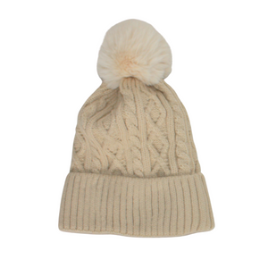 Cable Knit Bobble Hat in Cream