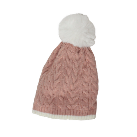 Cable Knit Bobble Hat in Pale Pink