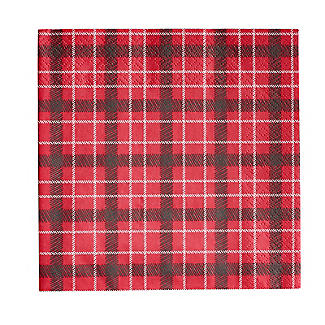 Botanical Holly Christmas Red Tartan Paper Napkins, Pack of 20