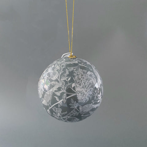 Grey Blue Bauble with Floral Design