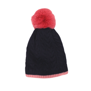 Cable Knit Bobble Hat in Navy and Pink