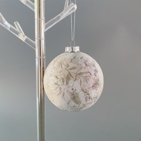 Frosted Bauble with Botanical Design