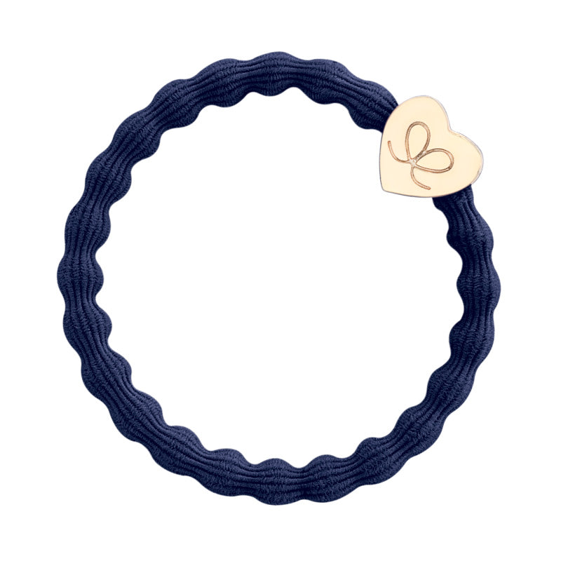 Gold Heart Navy Hair Band