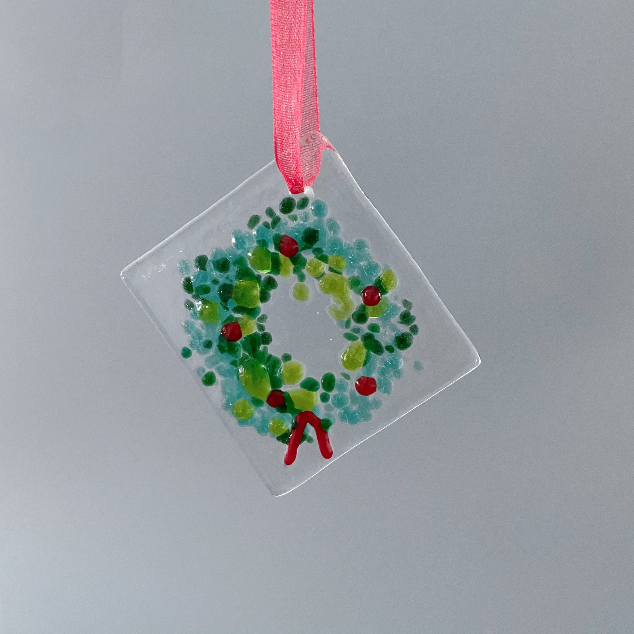 Handmade Glass Wreath Ornament