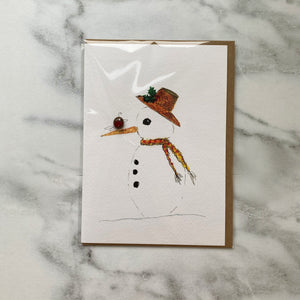 Snowman Christmas Card with Glass Bead