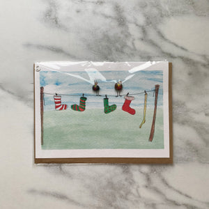 Stockings on the Line Christmas Card with Glass Beads