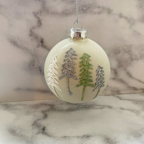 Silver and Green Christmas Tree Bauble