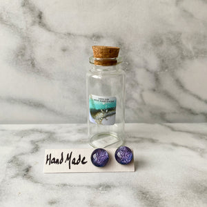 Handmade Glass Stirling Silver Earrings in a Gift Bottle