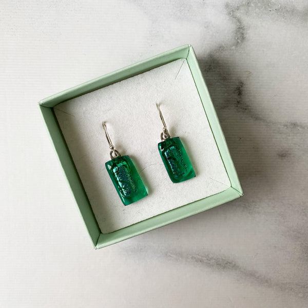 Handmade Glass Stirling Silver Earrings