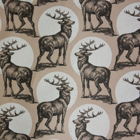 Stag Print Single Sheet Wrapping Paper
