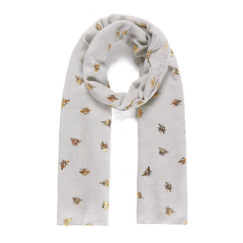 Light Grey Bee Gold Metallic Print Scarf