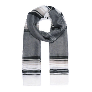 Grey Stripy Print Scarf
