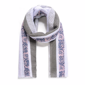Grey Floral Border Print Pleated Scarf