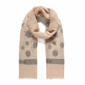 Beige Detailed Circle Embroidered Scarf