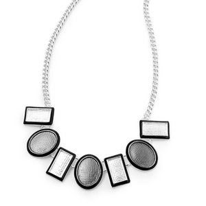 Fable Grey Geo Enamel Necklace